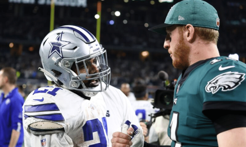 Ezekiel Elliott of the Dallas Cowboys and Carson Wentz of the Philadelphia Eagles
