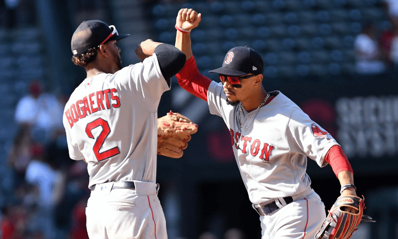 Xander Bogaerts and Mookie Betts of the Boston Red Sox